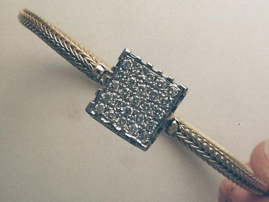 bracelet gold with pave square