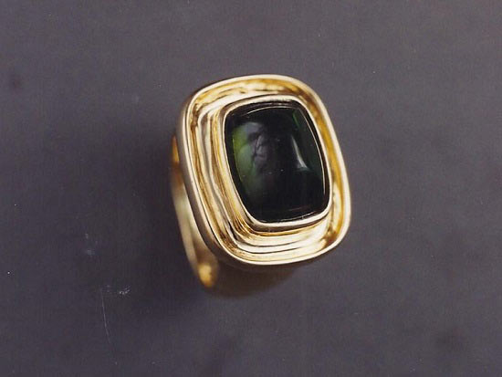 18K Yellow Gold & Tourmaline Cabochon Cut Ring