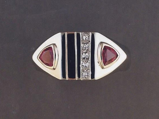 Gold, Ruby, Onyx & Diamond Ring