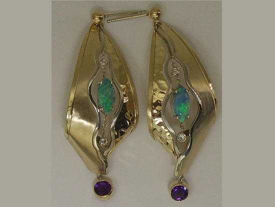14K Gold, Opal Diamond & Sapphire Earrings