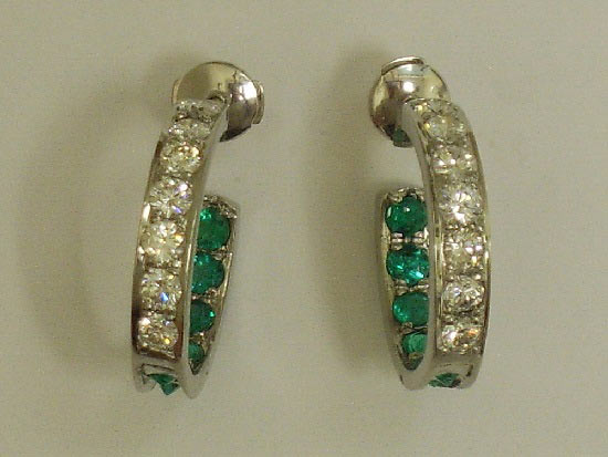 Diamond & Emerald Hoop Earrings