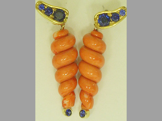 Coral and Sapphire earrings