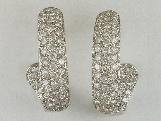 White Gold Pavé Diamond Hoop Earrings