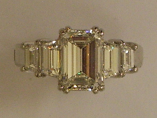 Platinum Engagement Ring With Emerald Cut Diamonds