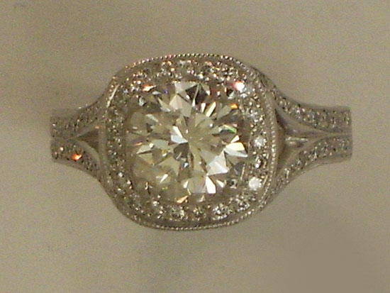 Engagement Ring With 14K White Gold & Diamond Ring With Bead Set Diamonds Round Brilliant Diamond