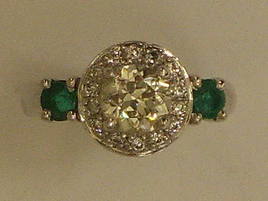 Emerald & Diamond Engagement Ring, Halo Setting With Round Diamond & Brilliant Stone in Center