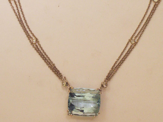 Blue Topaz and Diamonds by the yard style necklace