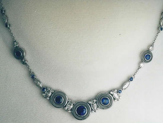 Platinum, Sapphire, Diamond & Crystal Necklace