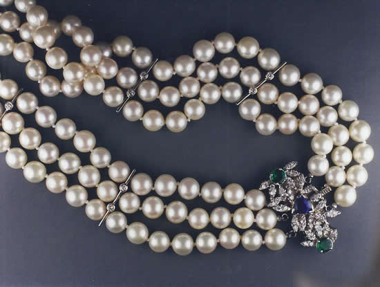 Triple Strand of Pearls With Diamonds, Sapphires, Emeralds