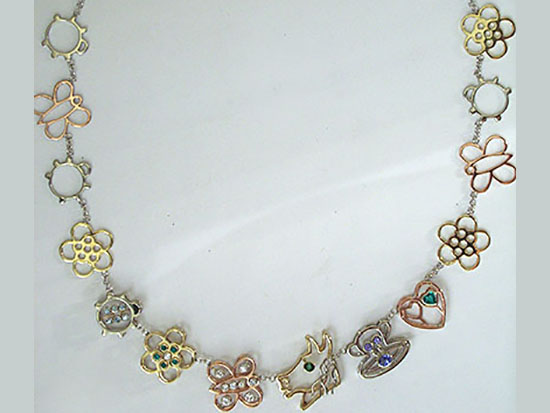 White, Yellow, Rose Charm Necklace With Diamonds, Gemstones