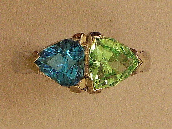Blue Topaz & Peridot Gold Ring