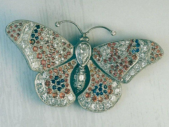 Platinum Butterfly Pin With Diamonds & Sapphires